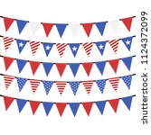 usa hanging bunting flags on... | Shutterstock .eps vector #1124372099