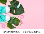 bright summer accessories on a... | Shutterstock . vector #1124375348