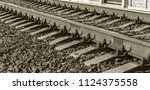 old railroad tracks in... | Shutterstock . vector #1124375558