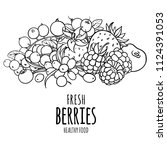 organic berries vector black...   Shutterstock .eps vector #1124391053