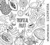 tropical fruits vector black...   Shutterstock .eps vector #1124391056