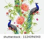 seamless vector floral summer... | Shutterstock .eps vector #1124396543