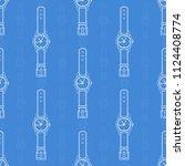 wrist watch. seamless pattern... | Shutterstock .eps vector #1124408774
