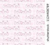 cosmetic jars. seamless... | Shutterstock .eps vector #1124408789
