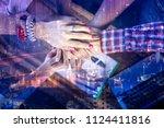 double exposure happy...   Shutterstock . vector #1124411816