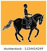 equestrian  dressage. a vector... | Shutterstock .eps vector #1124414249