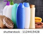 plastic bottles of body care... | Shutterstock . vector #1124415428