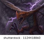 red dragon creature flying... | Shutterstock . vector #1124418860