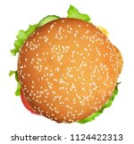 big burger with clipping path.... | Shutterstock . vector #1124422313
