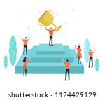 business leader with a trophy... | Shutterstock .eps vector #1124429129