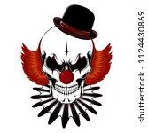 vector image of a clown skull   Shutterstock .eps vector #1124430869