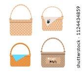 set of wicker  baskets  in flat ...   Shutterstock .eps vector #1124434859