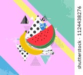 trendy colorful background with ... | Shutterstock .eps vector #1124438276