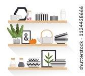 stylish crockery  plants and... | Shutterstock .eps vector #1124438666