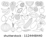 coloring book  page . fruits ... | Shutterstock .eps vector #1124448440