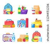 kids school lunch box.... | Shutterstock .eps vector #1124451236