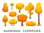 colorful autumn trees. cartoon... | Shutterstock .eps vector #1124451263