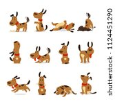 cartoon dog set. dogs tricks... | Shutterstock .eps vector #1124451290