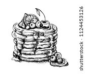 vector vintage pancake drawing. ... | Shutterstock .eps vector #1124453126