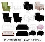 vector  furniture  armchair and ... | Shutterstock .eps vector #1124454980