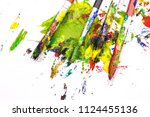 colorful paint brushes with the ... | Shutterstock . vector #1124455136