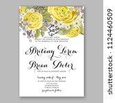 floral yellow rose ranunculus... | Shutterstock .eps vector #1124460509