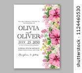 floral pink hibiscus wedding... | Shutterstock .eps vector #1124460530