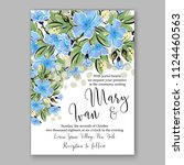 floral blue sakura wedding...   Shutterstock .eps vector #1124460563