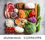 assortment of healthy balanced... | Shutterstock . vector #1124461496