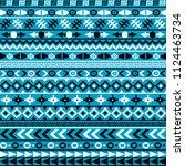 ethnic motifs on blue background | Shutterstock .eps vector #1124463734