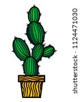 cactus on a white background.... | Shutterstock .eps vector #1124471030