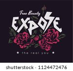 typography slogan with roses... | Shutterstock .eps vector #1124472476