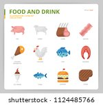 food and drink icon set | Shutterstock .eps vector #1124485766