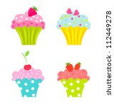 Set Of Cupcakes With Cream And...