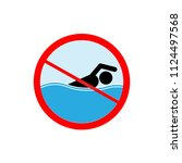 do not swim icon. symbol danger ... | Shutterstock .eps vector #1124497568
