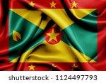 grenada fabric flag waving 3d... | Shutterstock . vector #1124497793