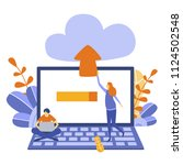 laptop and upload file with... | Shutterstock .eps vector #1124502548