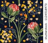 trendy seamless flower pattern. ...   Shutterstock .eps vector #1124518973