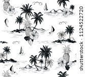 black and white summer island... | Shutterstock .eps vector #1124522720