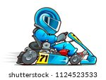 cartoon kart racer. side view.... | Shutterstock .eps vector #1124523533