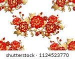seamless pattern with red ... | Shutterstock .eps vector #1124523770