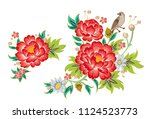 bouquets with red peonies | Shutterstock .eps vector #1124523773