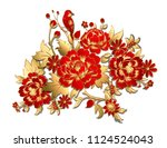 red flowers with golden leaves | Shutterstock .eps vector #1124524043