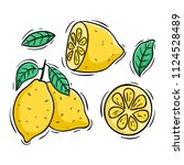 lemon slice with colored doodle ... | Shutterstock .eps vector #1124528489