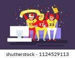 football fans watch the match... | Shutterstock .eps vector #1124529113