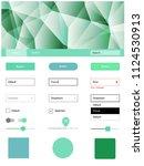 light blue  green vector ui kit ... | Shutterstock .eps vector #1124530913