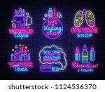 vape shop logo collection neon... | Shutterstock .eps vector #1124536370