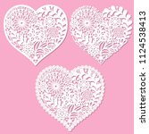 a set of openwork hearts with... | Shutterstock .eps vector #1124538413