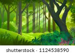 lush dense green forest with... | Shutterstock .eps vector #1124538590
