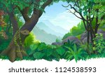 creeper climbing on a tree... | Shutterstock .eps vector #1124538593